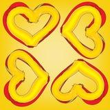 Абстрактное волшебное красочное сердце на желтой предпосылке Стоковая Фотография