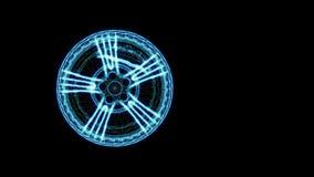 Абстрактное вращение неоновой оправы wireframe Колесо автомобиля, 3d представляет Ключ Chroma бесплатная иллюстрация