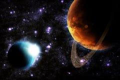 абстрактное глубокое солнце космоса планеты пирофакела Стоковое Изображение