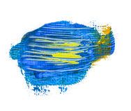 Абстрактное голубое желтое пятно краски Стоковая Фотография