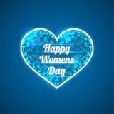 Абстрактное голубое сердце День счастливых женщин Триангулярные черепки Стоковые Фото