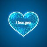 Абстрактное голубое сердце Надпись я тебя люблю Триангулярные черепки Стоковое Изображение RF