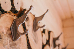 абстрактное дерево в разделах Предпосылка вешалок одежд деревянная Стоковое Фото