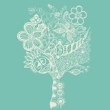 Абстрактное дерево на сини иллюстрация вектора