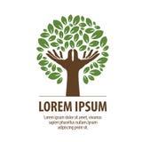 Абстрактное дерево сделанное из рук и листьев Логотип природы, экологичность Значок, символ Стоковые Изображения