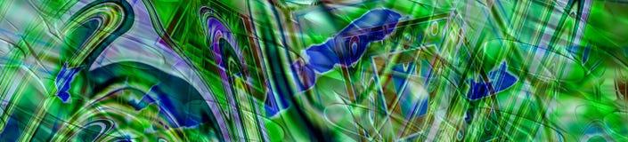 Абстрактное знамя панорамы с зеленой и голубой хаотической картиной Стоковое Изображение RF