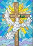 Абстрактное изображение в стиле цветного стекла с крестом и голубем Стоковая Фотография