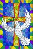 Абстрактное изображение в стиле цветного стекла с крестом и голубем Стоковая Фотография RF