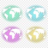 Абстрактное изображение земли с белыми континентами с прозрачным backlighting бирюзы, зеленого цвета, feulette и желтого backgrou иллюстрация вектора