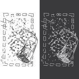 Абстрактное изображение картины брызга в квадратной рамке Стоковое Фото