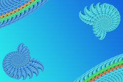 Абстрактное изображение на голубой предпосылке сине-голубых элементов фрактали, современном стильном хранителе экрана фантазии иллюстрация штока