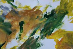 Абстрактное искусство в зеленом цвете и желтом цвете Стоковое Изображение