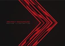 Абстрактное красное направление стрелки цепи с сеткой шестиугольника на векторе предпосылки технологии черного дизайна современно бесплатная иллюстрация