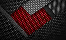 Абстрактное красное черное волокно углерода текстурировало материал de формы сердца Стоковая Фотография