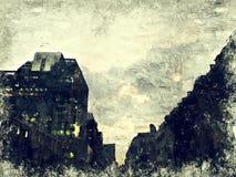Абстрактное красочное здание в городе на иллюстрации акварели стоковое фото rf