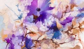 Абстрактное красочное масло, акриловая картина цветка весны Ход покрашенной щетки руки на холсте иллюстрация штока