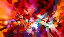 Абстрактное красочное масло, акриловая картина цветка весны Ход покрашенной щетки руки на холсте Картина маслом иллюстрации флори иллюстрация вектора
