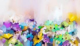 Абстрактное красочное масло, акриловая картина цветка весны Ход покрашенной щетки руки на холсте Картина маслом иллюстрации флори иллюстрация штока