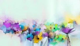 Абстрактное красочное масло, акриловая картина цветка весны Ход покрашенной щетки руки на холсте иллюстрация вектора