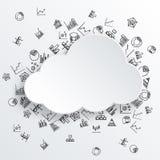 Абстрактное облако с нарисованными рукой значками диаграммы Стоковые Фото