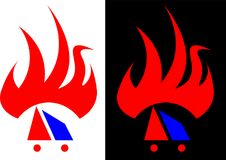 Абстрактное пламя, изолированное и против темного логотипа дела дизайна предпосылки Стоковое Изображение