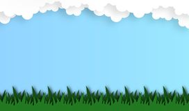 Абстрактное поле травы с предпосылкой облака, вектором, иллюстрацией, бумажным стилем искусства стоковое фото rf