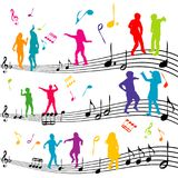 Абстрактное примечание музыки с силуэтами танцевать детей иллюстрация штока