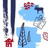 абстрактное своеобразное рождество, текстуры ходов искусства кисти зимнего времени, законспектированное colla силуэта сосен, пода иллюстрация вектора