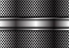 Абстрактное серебряное перекрытие знамени на дизайне сетки круга металла Стоковые Изображения