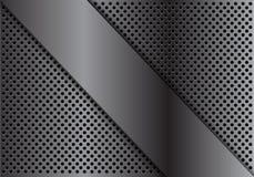 Абстрактное серое перекрытие металла на векторе текстуры предпосылки дизайна сетки круга современном роскошном футуристическом Стоковое Изображение RF
