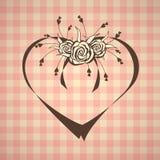 Абстрактное сердце с розами на винтажной предпосылке иллюстрация вектора
