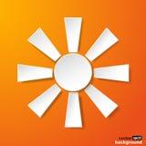 Абстрактное солнце белой бумаги на оранжевой предпосылке бесплатная иллюстрация