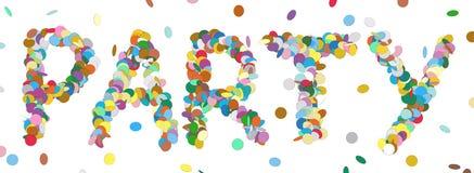 Абстрактное слово Confetti - письмо ПАРТИИ - красочный вектор панорамы Стоковое Изображение RF