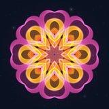 Абстрактное украшение с розовыми сердцами на звёздном небе иллюстрация штока