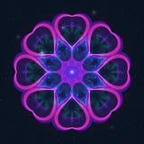 Абстрактное украшение с яркими розовыми сердцами на звёздном небе бесплатная иллюстрация