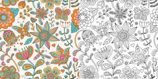 Абстрактное флористическое безшовное Doodle нарисованный рукой Стоковое Изображение RF