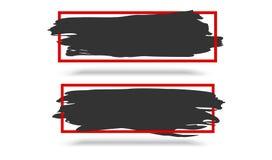 Абстрактное черное знамя с красной границей и тень на белой предпосылке Шаблон, шаблон для вашего дизайна, скидки Стоковое фото RF