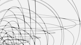 Абстрактное черное переплетаннсяое 3D обрамляет кругов вращая на белой предпосылке, безшовной петле сердитой Том звенит  иллюстрация вектора
