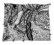Абстрактное черно-белое zentangle стоковая фотография rf