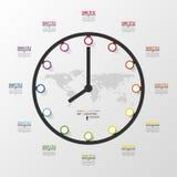Абстрактное 3D цифровое дело Infographic Часы Стоковая Фотография