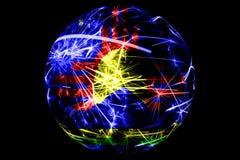Абстрактное Roswell, флаг Неш-Мексико сверкная Американская концепция праздника шарика рождества изолированная на черной предпосы иллюстрация штока