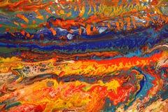 Абстрактные акриловые льют картину стоковое изображение rf
