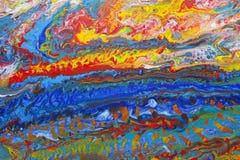 Абстрактные акриловые льют картину стоковое изображение