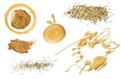 Абстрактные акриловые элементы золота цвета и яркого блеска изолировано coll стоковые изображения rf