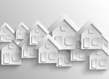 Абстрактные бумажные случайно аранжируемые дома иллюстрация вектора