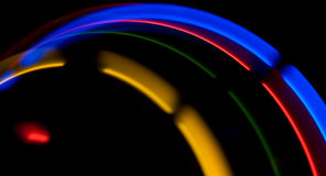 Абстрактные двигая красочные света на черной предпосылке Стоковая Фотография