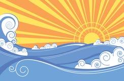 абстрактные волны вектора моря иллюстрации бесплатная иллюстрация