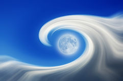 Абстрактные волна и луна Стоковые Фото