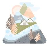 Абстрактные высокие горы с домами Исландии Пастельный цвет Плоская иллюстрация дизайна бесплатная иллюстрация