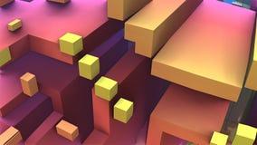 абстрактные геометрические красочные кубы 3D и прямоугольники Стоковые Изображения RF